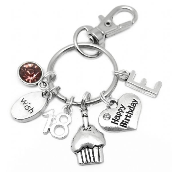 18th Happy Birthday Cake Keyring Personalised Gift For 18 Year Old